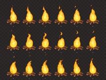 Animation brûlante de feu Le feu chaud, le feu de camp extérieur et le vecteur de bande dessinée de feux ont isolé des cadres de  illustration de vecteur