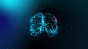 3D Animation of Brain Impulses in Blue Background. Brain Spinning With mri Scan