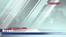 Animation breaking news live report presentation title for television or media program broadcast with world map background stock video footage