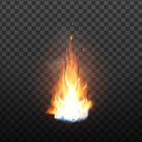 Animation Burning Fire With Sparks Effect Vector. Red Burn Hot Flickering Fire With Smoke And Blaze Glowing Particles. Colorful Image On Transparency Grid vector illustration