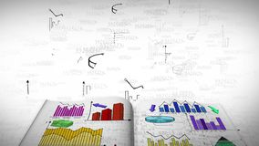 Animation of business, marketing and financial colorful statistic information doodle such as graph chart and diagram in a notebook stock video