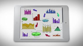 Animation of business, marketing and financial colorful statistic information doodle such as graph chart on smart phone tablet