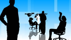 Animation of Business people silhouettes working in office stock video