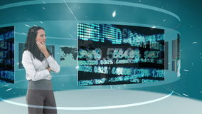 Animation of a businesswomen looking at futuristic interface stock video footage