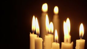 Animation of candles burning for Christmas day stock footage