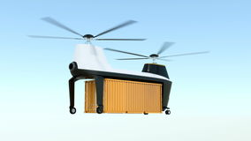 Animation of cargo drone takeoff from ground