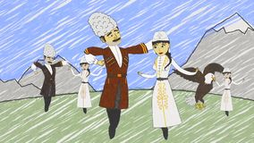 Animation of the cartoon Caucasian wedding and pairs dancing on the mountains background and then turning into the