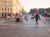 Animation of cartoon characters. Animation of cartoons in the center of St. Petersburg. Palace square. Summer 2017. Animation of cartoon characters. Animation of Royalty Free Stock Photos