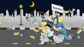 Animation cartoon of how wealthy business owner or CEO run business with salary man and office employee with incentives reward stock video footage