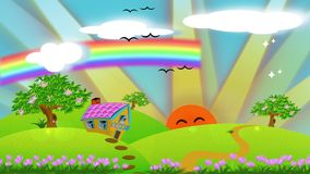 Animation cartoon illustration of cute house cottage on the hill with sunrise and rainbow in kid story concept