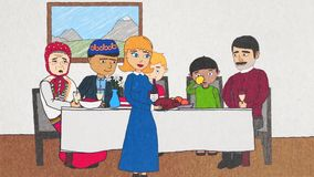 Animation of the cartoon people of different races sitting at the dinner table, eating meal and communicating with each