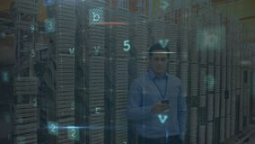 Man phoning from server room with moving data security messages. Animation of a Caucasian man seen waist up making a phone call on smartphone in a corridor stock video