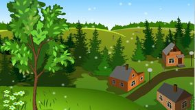 Animation of changing of seasons on the same landscape of town from hill