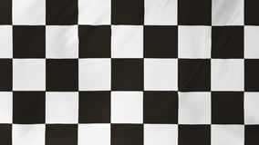 Animation checkered flag waving in the wind 2 in 1. Animation checkered flag waving in the wind detailed fabric texture stock footage