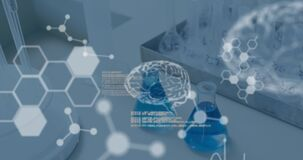 Animation of chemical compound structures, data processing and human brains against beakers with blu