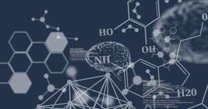 Animation of chemical formulas over human brains and data processing