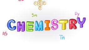 Animation of chemistry subject with chemical laboratory tool icon moving in doodle for education introduction title stock video