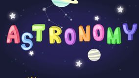 Animation of childish astronomy science subject header with colorful text and planet stars rocket space shuttle icon moving used f