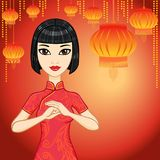 Animation Chinese girl. Chinese new year. Royalty Free Stock Photos