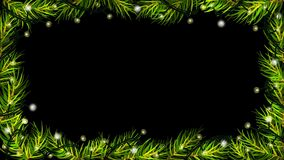 Animation of Christmas lights with spruce (fir) branches on black background