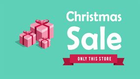Animation of Christmas Sale. Christmas gift stock illustration