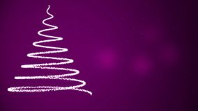 Animation of Christmas tree with falling snowflakes. Purple background. vector illustration