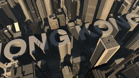 Animation from the city name Hong Kong with building stock footage