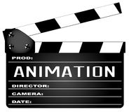 Animation Clapperboard. A typical movie clapperboard with the legend Animation isolated on white stock illustration