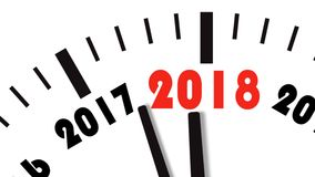 Animation of clock countdown from year 2017 to 2018. UltraHD 4K stock footage