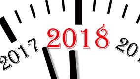 Animation of clock countdown from year 2017 to 2018. UltraHD 4K. Video footage. 60 fps royalty free illustration