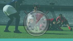Animation of clock ticking over two multi-ethnic rugby teams playing rugby