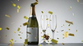 Champagne bottle and glasses vector illustration
