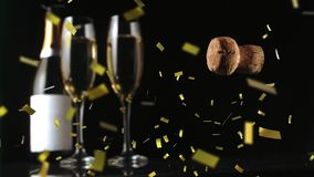 Cork from a champagne bottle falling down royalty free illustration