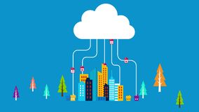 Animation of cloud system technology.