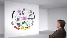 Animation colorée montrant la pièce 3d et le cerveau ayant des idées et l'observation d'homme clips vidéos