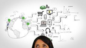 Animation colorée montrant le comportement du consommateur et l'observation globaux de femme banque de vidéos