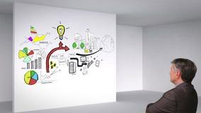 Animation colorée montrant le plan d'action de la pièce 3d et et l'observation d'homme banque de vidéos