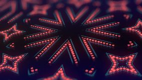 Animation of color led particles shapes. Abstract kaleidoscopic VJ motion background. 3d rendering. 4K, UHD resolution stock footage