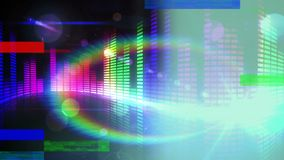 Animation of colorful sound bar on black background stock illustration