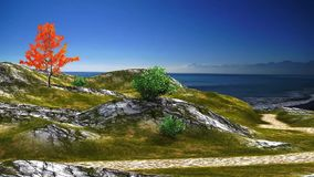 3D animated landscape of path to sea with blue sky and ocean vector illustration