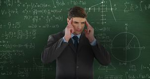 Man thinking in front of moving maths calculations on chalkboard 4k