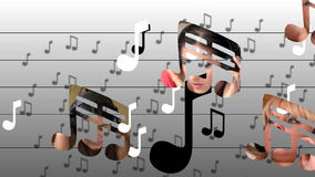 Animation courante présentant la musique de écoute de femmes paisibles illustration libre de droits