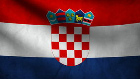 Animation of Croatia flag at wind stock video footage