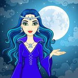 Animation cute witch. On a background of the night sky and the moon. Vector illustration Royalty Free Stock Photography