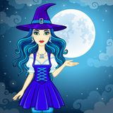 Animation cute witch Stock Images