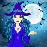 Animation cute witch. In a hat on a background of the night sky and the moon. Vector illustration Royalty Free Stock Photography