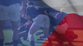 Animation of Czech flag waving over two multi-ethnic rugby teams playing rugby