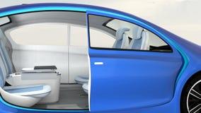 animation 3D d'intérieur autonome de voiture illustration libre de droits