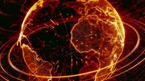 animation 3d d'un réseau croissant à travers le monde - version rouge banque de vidéos