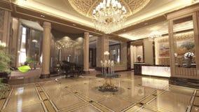 animation 3d de lobby de luxe classique avec la réception banque de vidéos